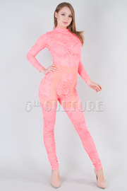 MOCK NECK SEE THROUGH LACED JUMPSUIT