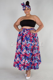 PLUS SIZE PRINTED FLARED SKIRT WITH HAIR WRAP