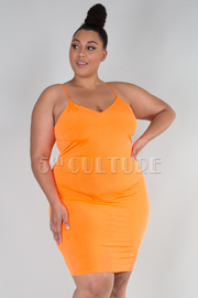 PLUS SIZE SPAGHETTI SHOULDER FITTED MINI DRESS