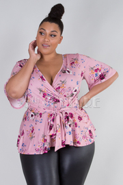 PLUS SIZE V-NECK 3/4 SLEEVE BOW TIE BACK TOP