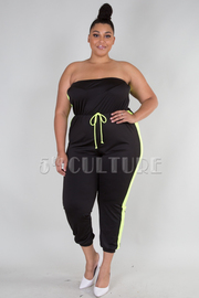 PLUS SIZE BOW TIE DETAIL TUBE TOP JUMPSUIT