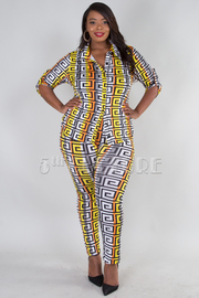 PLUS SIZE 3/4 SLEEVE COLLAR TOP AND LEGGINGS SET