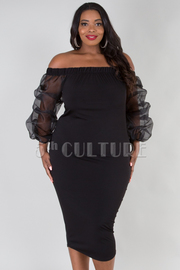 PLUS SIZE OFF SHOULDER SEE-THROUGH LONG SLEEVE FITTED MIDI DRESS