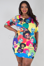 PLUS SIZE FACES PRINTED MINI DRESS