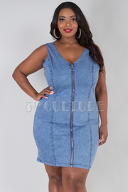 PLUS SIZE SLEEVELESS ZIP UP DENIM DRESS