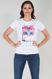 ROUND NECK SHORT SLEEVE CAT TOP