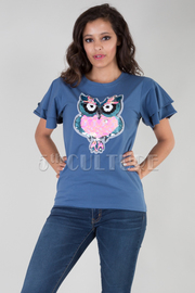 ROUND NECK TWO LAYER SHORT SLEEVE BEADS OWL TOP