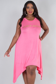 PLUS SIZE Round neck sleeveless screen print loose fit dress
