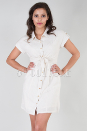BUTTON UP TIE FRONT SHORT SLEEVE MINI DRESS