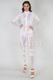ZIP UP LONG SLEEVE SEE THROUGH JUMPSUIT