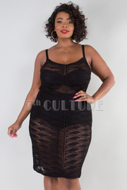 PLUS SIZE SEE THROUGH CROCHETED MINI DRESS
