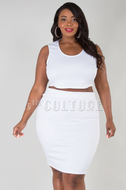 PLUS SIZE ROUND NECK SLEEVELESS SOLID TOP AND SKIRT SET