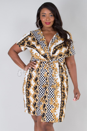 PLUS SIZE OVERLAP FRONT SLIT BELTED MIDI DRESS