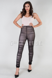 Sexy In 2-Piece Bodysuit Ruched Mesh Leggings Set