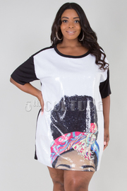 PLUS SIZE ROUND NECK SHORT SLEEVE FACE PRINTED TOP