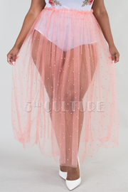 PLUS SIZE PEARL TRIM SEE THROUGH SHEER SKIRT