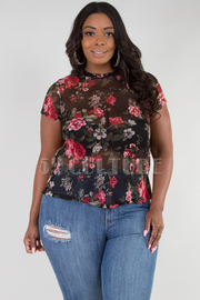 PLUS SIZE ROUND NECK SHORT SLEEVE SHEER TOP
