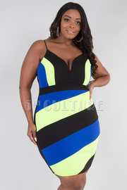 PLUS SIZE STRIPE SHOULDER FITTED MINI DRESS