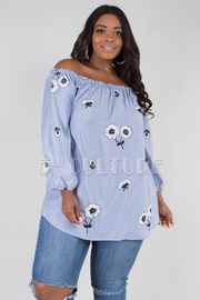PLUS SIZE OFF SHOULDER LONG PUFF SLEEVE TOP