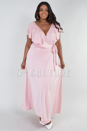 PLUS SIZE OVERLAPPED BOW TIE SIDE MAXI DRESS