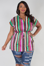 PLUS SIZE SHORT SLEEVE BELTED STRIPE TOP