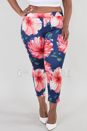 PLUS SIZE PANTS FLORAL LEGGINGS PANTS