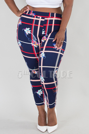 PLUS SIZE PANTS FLORAL PLAID LEGGINGS PANTS