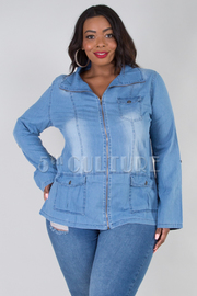 PLUS SIZE ZIP UP POCKET DETAIL DENIM COLLAR JACKET