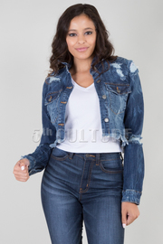 LONG SLEEVE DESTROYED SHORT DENIM JACKET