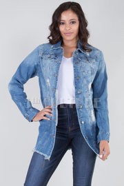 LONG SLEEVE DESTROYED BACK LONG DENIM JACKET