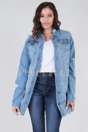 LONG SLEEVE DESTROYED LONG DENIM JACKET