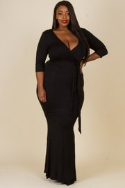 Plus Size Surplice 3/4 Sleeved Tie Maxi Dress
