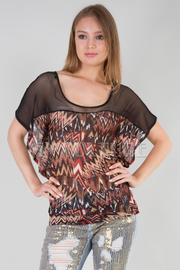 DEEP ROUND NECK SHORT SLEEVE SEE THROUGH PRINTED TOP