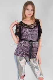 Native Print Top With Lace Neckline And Sleeves