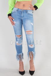 BOTTOM POINTED DESTROYED JEANS