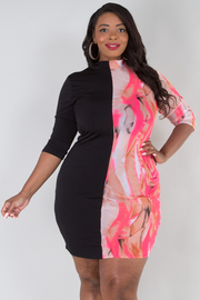 PLUS SIZE Mock neck black and printed mesh mini dress
