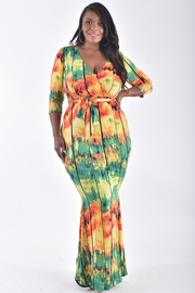 PLUS SIZE 3/4 length sleeve deep v neck ties at waist printed long dress