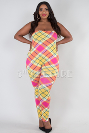 PLUS SIZE PLAID TUBE JUMPSUIT
