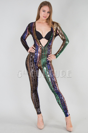 LONG SLEEVE SEXY BEADS JUMPSUIT