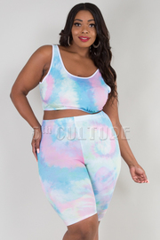 Plus size tie dye sleeveless crop top and shorts set