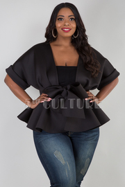 PLUS SIZE WIDE SHORT SLEEVE TOP WITH BOW TIE