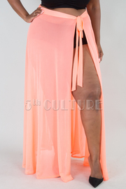 PLUS SIZE SEE THROUGH MAXI SKIRT WITH BOW TIE