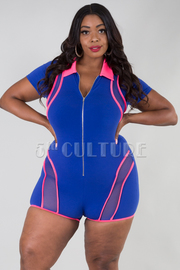 PLUS SIZE SHORT SLEEVE MESH SOLID ROMPER