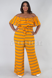 PLUS SIZE OFF SHOULDER TWO LAYER FLOUNCE JUMPSUIT