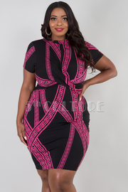 PLUS SIZE HIGH NECK SHORT SLEEVE GEOMETRIC MINI DRESS