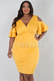 PLUS SIZE COLD SHOULDER OVERLAP MINI DRESS