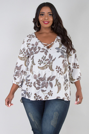 PLUS SIZE LONG PUFF SLEEVE COMFORTABLE TOP