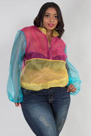 PLUS SIZE LONG SLEEVE COLOR BLOCK SEE-THROUGH TOP