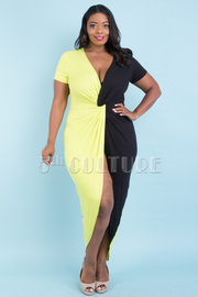 PLUS SIZE CROSS FRONT SHORT SLEEVE FRONT SLIT COLOR BLOCK DRESS