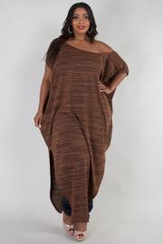 PLUS SIZE Off shoulder side slit dress